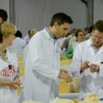 Judges tasting cheese on trade day at the Nantwich Awards